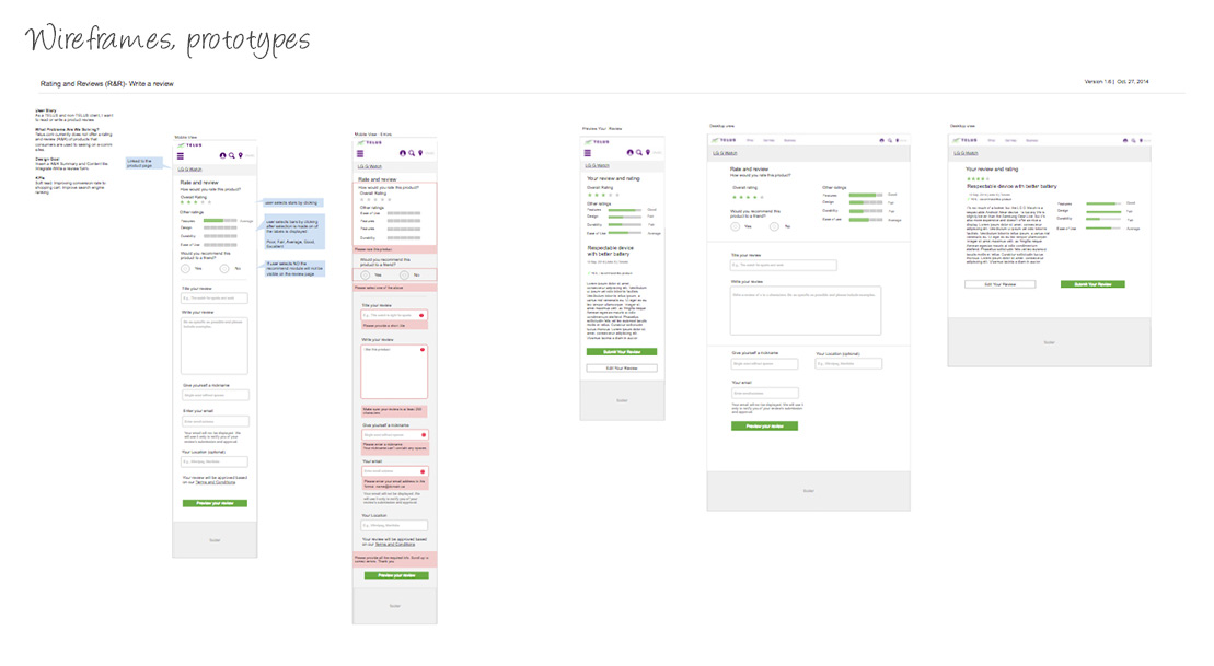 Designing at Telus starts with mobile first in mind. Wireframes are a result of a collaborative team effort to assure that in an agile way everything starts up together with UX including visual design and development.