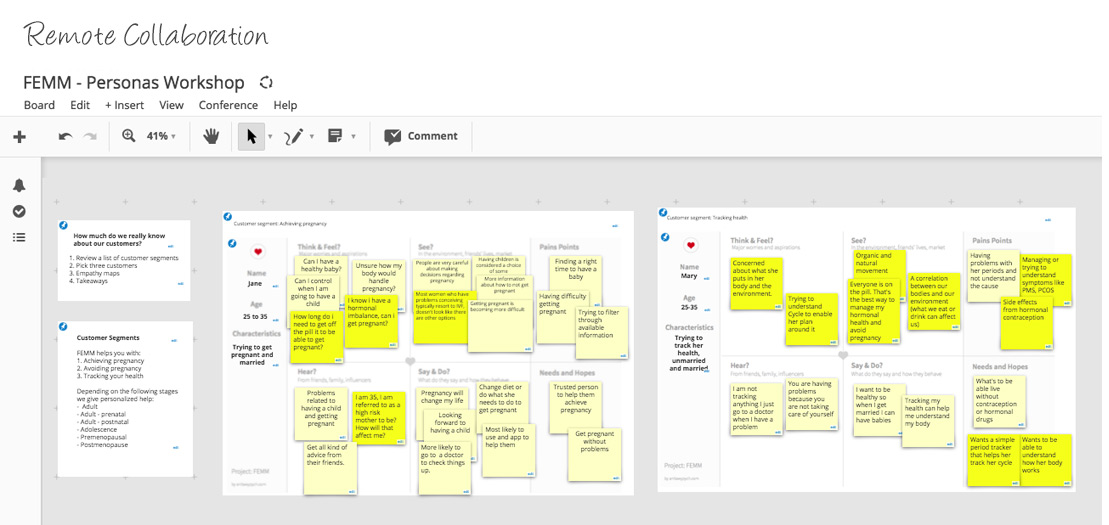 Using Conceptboard software, I was able to simulate a whiteboard to conduct workshops with participants located in different countries. Understanding the customer base via this session helped in shaping a product based on users needs.